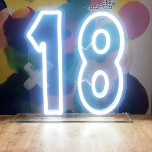 Neon Light for 18th Birthday Party with stand - photo CustomNeon.com