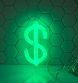 $ Dollar Sign Green Neon Light for Sale! Cool LED neon sign shown against tile background. Wall mount or use as table lamp. - photo from CustomNeon.com