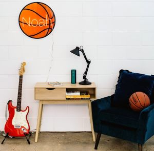 LED Neon Name Sign with a UV printed basketball background - personalised gift ideas from Custom Neon by Neon Collective