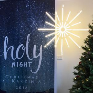 Christmas Star LED Light shown next to a Christmas tree and event sign - from Custom Neon by Neon Collective