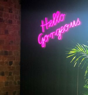 Hello Gorgeous Pink Neon Wall Art - photo from CustomNeon.com