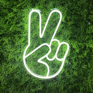 Ultra cool light up hand emoji peace sign - Photo Custom Neon by Neon Collective