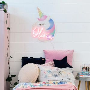 Unicorn LED Neon Name Sign for Kids Room from Custom Neon by Neon Collective