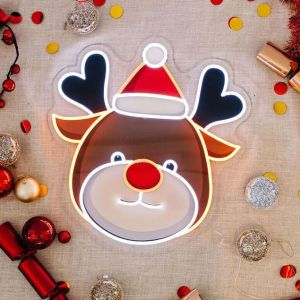 UV printed LED reindeer Xmas light up decoration from Custom Neon by Neon Collective