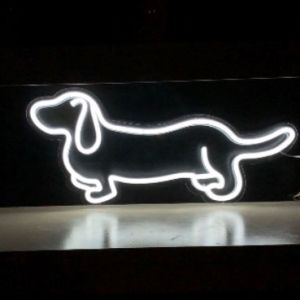Adorable LED neon sausage dog shown on a table in white - from Custom Neon by Neon Collective
