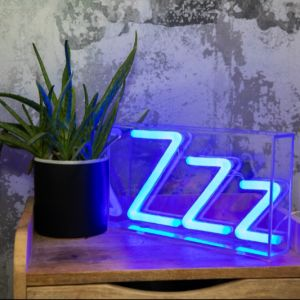 ZZZ Neon Box Sign photo - Small LED neon light sign in a clear box, great lamp for bedroom decor or as a night light.